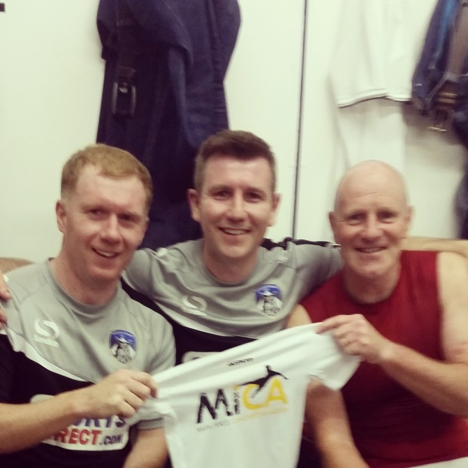 MICA Meets Paul Scholes and Andy Ritchie. Playing at a charity game at Boundary Park